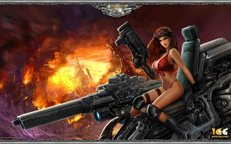 Fantasy Girl - hot, hot image, fantasy girl, huge gun