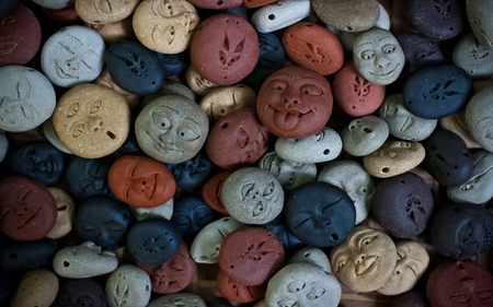 Smiling Faces - colored, round, abstract, multi, faces, stones