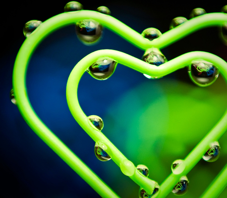 Green Heart - green, water, abstract, love, drops, heart, romance