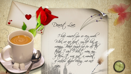 Letter to my Love - rose, cappacino, coffee, wife, hearts, letter, firefox persona, lover, button, magnet, husband, spoon, envelope
