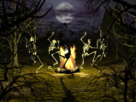 Bone dance - skeleton, halloween, abstract, dancing, gothic, campfire, conjuring, skeletons, trees, bones, full moon, wallpaper, undead, 3d, scary, haunted, coven