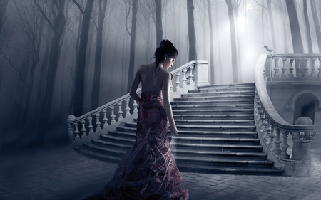 fantasy girl - girl, light, trees, woman, stair, forest