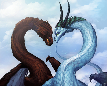 2 dragons in love - Fantasy & Abstract Background Wallpapers on ...