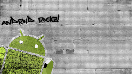 Android'Rocks - android, green, patterns, bricks, tiles, android rocks, wall, outside