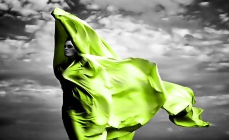 Green Veil - people, beautiful, elegant, silhouette, figure, abstract, pretty, veil, models female, girl, nice, silk, woman, white, grey, wind, fantasy, green, black, color splash, black and white, photography