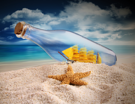 Summer - beautiful, blue, pretty, summer time, beauty, beach, yellow, bottle, sailboats, nice, oceans, boat, boats, summer, starfish, fish, skies, fishes, sky, colors, lovely, sailboat, sand, clouds, star, ship, nature, sea, ocean