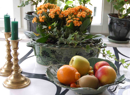 orange and yellow - fruits, still life, plate, basket, andlestick, candle, flowers, candles, yellow, orange