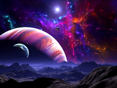 Beyond - space, colors, red, clouds, mountains green, blue, stars, planets, sky