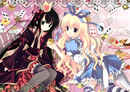 Alice & The Queen of Hearts - blue, ribbon, anime, stripes, kawaii, white, socks, red, females, frills, black, cute, crown, alice in woderland, hearts, bow, alice, girls, queen of hearts, dress