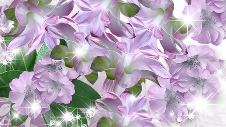 Lavender All the Way - flowers, sparkle, spring, summer, lavender, bright, stars, lilac, lily, shine