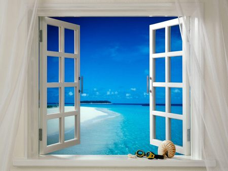 Tropical Breeze - window, tropical, seashell, sky, view, curtains, beach, island, ocean, breeze