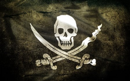 The Jolly Roger - crossbones, abstract, skull, jolly roger, pirate, pirate flag, 3d and cg, pirat flag, death head, scull and bones, pirat, knives, flag