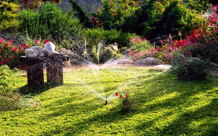 Relaxing Garden - flowers, garden, sprinklers, relaxing