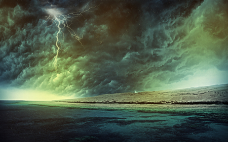 Rain - cool, beautiful, pretty, beauty, lightning, rain, water, landscape, nice, natural force, sky, colors, lovely, drops, photography, clouds, storm, nature, sea, ocean
