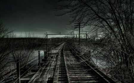 dark day - dark, traintracks, photography, tracks