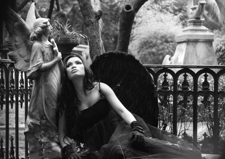 Dark Angel - brunette, dark angel, woman, model, black, white, photo, sexy