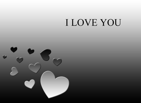 I LOVE YOU - wallpapers, black, gradients, white, hearts