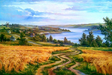 Painting - river, painting, nature, path, art