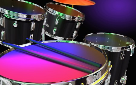 Neon Colored Drums - cool, colorful, abstract, instrument, drums, neon, music