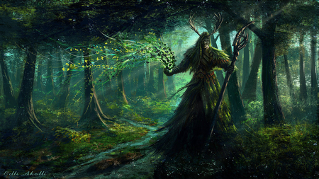 druid - dark, forest, scream, fantasy, anime, jungle