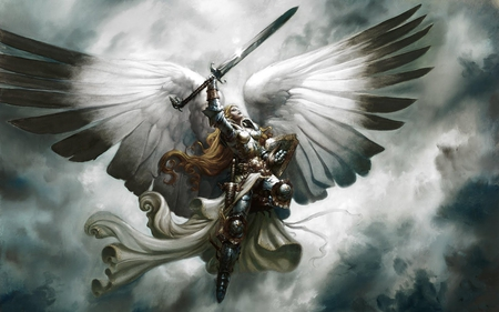 angel warrior - wings, warrior, clouds, beautiful, angel, sky, fantasy