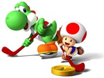Yoshi and Toad Playing coin Hockey