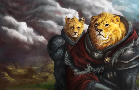 King of Beasts - artistic, lion, fantasy, lions