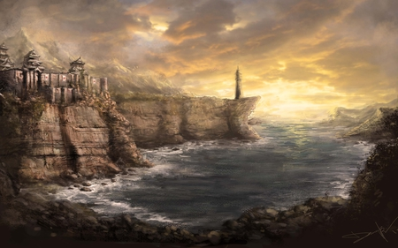 Asian Shores - artistic, cgi, fortress, painting, castle, fantasy, lighthouse