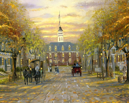 Painting of Colonial Williamsberg - people, sky, colonial, painting, art, textures, clouds, buildings, streets, williamsburg
