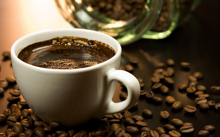Coffee - beans, photography, cup of coffee, cup, coffee