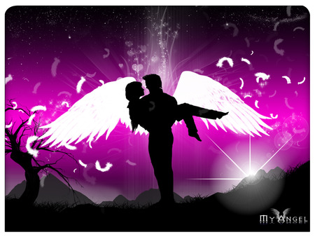 My Angel - my angel, silhouette, angel, angels, valentine, love, valentines day, valentines, i love you