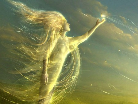 Angel of Light and Sky - faery, fay, angel, angels, women, fae, girl, female, pixie, fairy, wind, fantasy, faerie, sky, light, elf, 3d