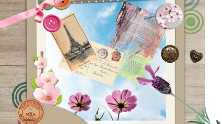 Sending Photos - milk bottle lid, flowers, post cards, wood, button, photo, ribbon, paper