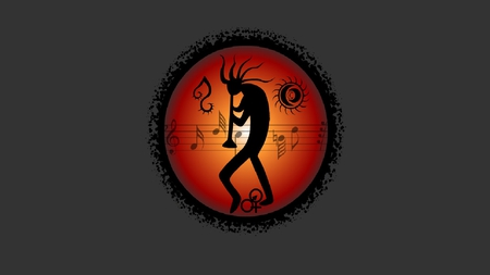 Kokopelli - orange, black, flute, kokopelli, gray