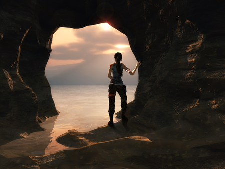 Lara Croft - video game, sea, lara croft, grotto, tomb raider, water