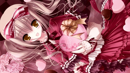 Valentine - girl, valentine, pink, cute, ribbon, heart, anime