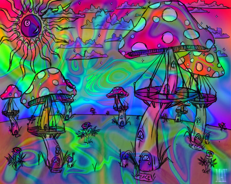 Psychedelic Mushrooms - fantasy, colourist, sky, psychedelic, mushrooms, sun, spiritual