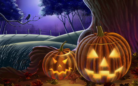 Halloween - owl, trees, halloween, Fall, autumn, night, pumpkin, leaves, fence, house, hills, pumpkins