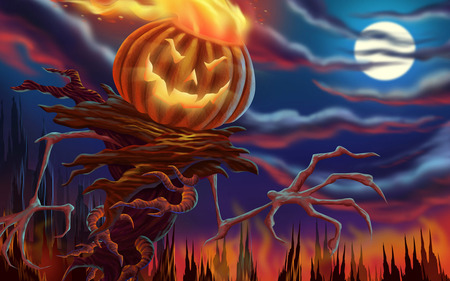 Halloween - spooky, Autumn, halloween, Fall, october, night, pumpkin, flames, hollowen, moon, scary, fire, fantasy, frightning