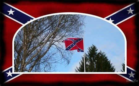 End of Civil War - civil war, widescreen, rebel, framed, flag