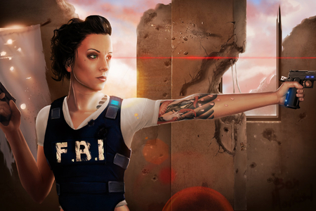 Laser Eye - adventure, digital art, fbi, laser, female, girl, gun, action, tattoo, fantasy, eye, cg