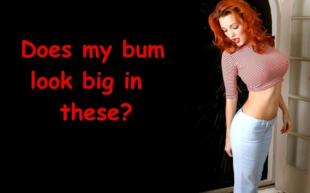 Well Seeing You Asked....... - jeans, blue, stripes, redhead