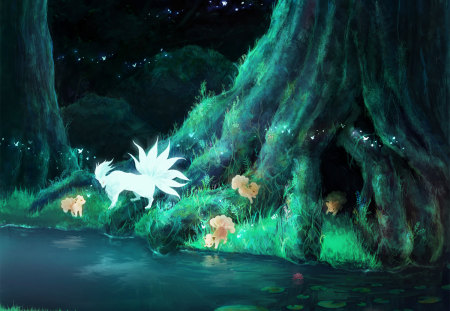 Legend of Ninetales - river, tree, kitsune, night, fox, anime, fireflies, ninetales, forest, music, pokemon, family