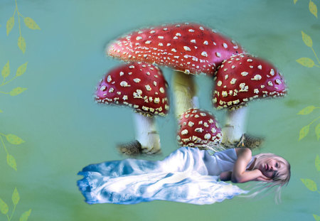 Under The Toadstools - green, lady, toadstool, mushroom, mist, blue, red