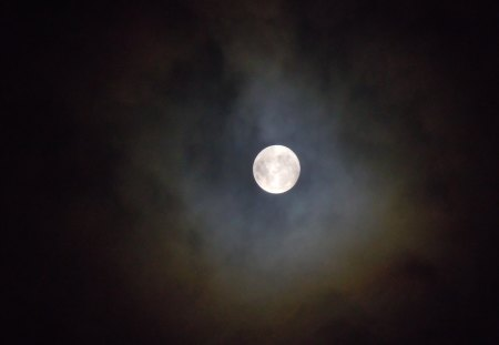 Full Moon - cloudy, nature, sky, moon