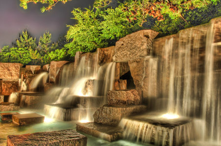 3D Waterfalls - trees, rocks, color, waterfall, fall