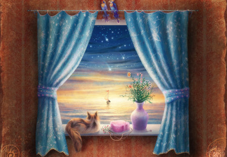 window - window, sky, abstract, painting, view, beauty, flower, cat, fantasy, kitty