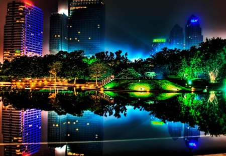 Colorful City - architecture, colorful, light, lake, houses, night, color, trees