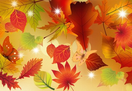Energy of Autumn - glow, orange, color, fall, autumn, stars, firefox persona, leaves, butterfly, gold