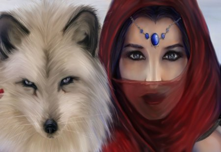 women warrior and friend - women, beautiful, wolf, gorgeous